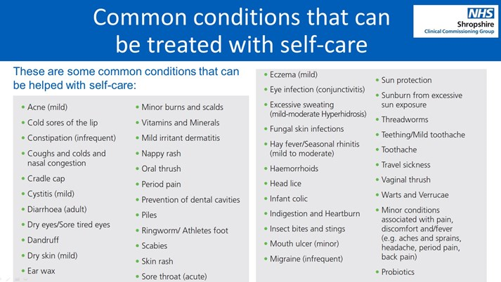 Common Conditions for Self Care